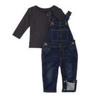 George Toddler Boys' Jean Overalls & T-Shirt Set 2T