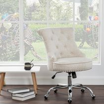 New Style Fabric Metal Base Middle Office Chair Beige