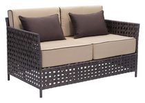 Zuo Modern Outdoor 1-Piece Synthetic Weave Brown & Beige Pinery Sofa
