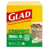 Glad® 100% Compostable OdourShield®  Easy-Tie®  Bags- Small