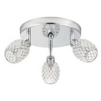 Globe Electric 58785 3 Light Canopy Spot Light Kit, Chrome and Crystal Finish