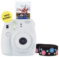 Fujifilm Instax Mini 9 Camera with Bonus Deluxe Strap White