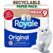 Royale Original Recyclable Paper Pack, 9 Mega Toilet Paper Rolls
