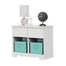 South Shore Summer Breeze 2-Drawer Double Nightstand White Wash