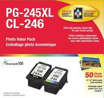 Canon Paquet de papier photo PG-245XL et CL-246 de 50 feuilles