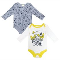 Peanuts Baby Boys' Long Sleeve 2-Pack Bodysuit 3 months