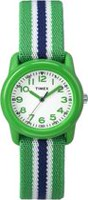 Timex® Kids Green Case White Dial Green with Blue striped Strap Quartz Analog Watch