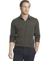 Arrow Men's Jacquard Knit Grid Polo Sweatshirt Large