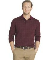 Arrow Men's Jacquard Knit Grid Polo Sweatshirt X-Large