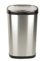 Nine Stars Motion Sensor Oval Touchless 13-Gallon Trash Can - Stainless Steel
