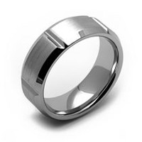 Rex Rings Cobalt Ring with Sectioned Band Sandpaper Center and Polished Bevelled Edges 10