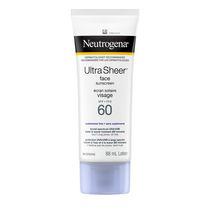 Neutrogena Ultra Sheer Écran solaire Visage FPS 60, non gras et léger, 88 ml