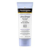 Neutrogena Ultra Sheer Écran solaire Sec au toucher FPS 60, résiste à l'eau et à la sueur, non comédogène, n'obstrue pas les pores, 88 ml