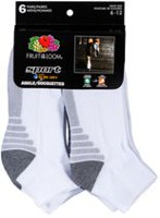 Fruit of the Loom Men's Sports Ankle Socks, Pair of 6 White 6-12