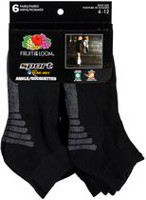 Fruit of the Loom Men's Sports Ankle Socks, Pair of 6 Black 6-12