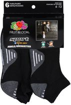 Fruit of the Loom-Mens-6 Pack Sport-Low Cut with Arch Support Black