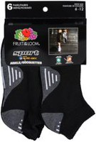 Fruit of the Loom Men's Sports Ankle Socks, Pair of 6 Black