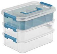 Sterilite Stack & Carry 3 Layer Clear Handle Box & Tray