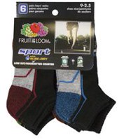 Socquettes à coupe basse sport de Fruit of the Loom pour garçons - 6 paires 9-2.5