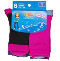 Fruit of the Loom Girls' Core Crew Socks - 6 Pairs 4-10