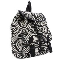 Moxy Women's  Dhurrie Drawstring Bag Black/White