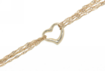 "10kt yellow 7.25"" bracelet with open heart"