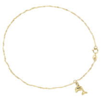 "10k Yellow Gold 9-10"" Anklet with Dolphin"