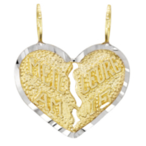"10k Two-tone Gold ""Meilleure Amie"" Heart Charm"