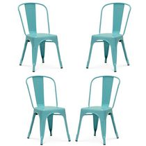 Dining Chair Plata Import tolix Roch Set of 4 Pink