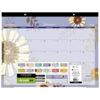 Mead® Visual Organizer® Recycled Flower Monthly Desk Pad<br>RECYCLED FLOWER