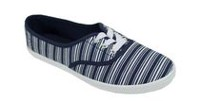 George Women's Lemon Lace-up Canvas Shoes Navy/White stripes 9