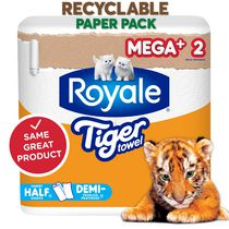 Royale Tiger Towels Recyclable Paper Pack, 2 Mega+ Paper Towel Rolls