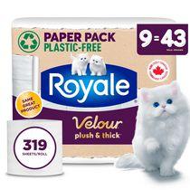 Royale Velour Recyclable Paper Pack, 9 Super Mega Toilet Paper Rolls