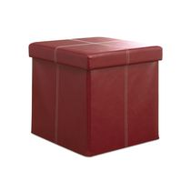 Foldable Storage Ottoman Red