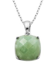 PAJ Sterling Silver Genuine Green Jade Cushion Cut Pendant