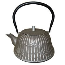 Cuisiland Moso Bamboo 1.2 L (40 oz.) Cast Iron Teapot Set Silver