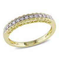 Miabella Fashion Ring with Diamond Accents in 10 K Yellow Gold