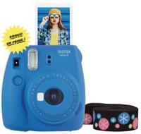 Fujifilm Instax Mini 9 Camera with Bonus Deluxe Strap Cobalt Blue