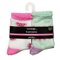 George Girls Crew Socks 10-13