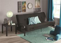 """DHP MAINSTAYS Black Metal Arm Futon Frame with 6"""" Full Size Mattress & Retainer Covers"""