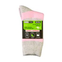 Athletic Works Girls' Thermal Crew Socks, 2 Pairs Pink
