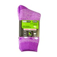 Athletic Works Girls' Thermal Crew Socks, 2 Pairs Mauve