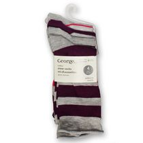 George Ladies' Crew Socks - Pack of 4 Light Grey