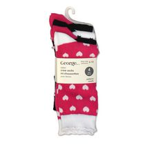 George Ladies' Crew Socks - Pack of 4 Pink