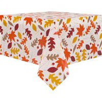 Harvest Peva Flannel-Backed Leaf Design Tablecloth