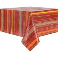 Harvest Peva Flannel-Backed Stripe Design Tablecloth