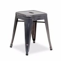 "Nicer Furniture Industrial Backless 18"" High Gunmetal Metal Stack Stools"