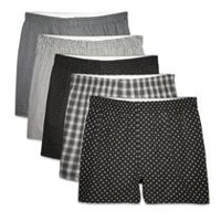 Fruit of the Loom Men's Prints & Stripes Boxer Shorts, 5-Pack L