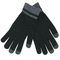 George Men's Acrylic Knit Texting Gloves Black