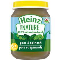 Aliments naturels à 100 % pour bébés Heinz de Nature – Pois et épinards biologiques en purée